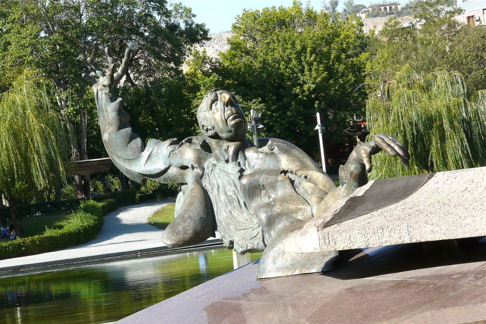 David Bejanyan's colorful and controversial statue of composer Arno Babajanyan (1921-1983) in Yerevan, Armenia.